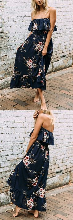 Sexy Off Shoulder Random Floral Layered Print Dress