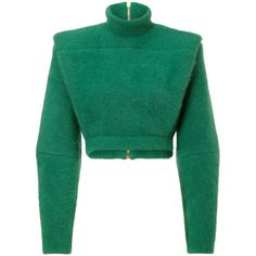 Balmain Wool Blend Structural Pullover (£1,005) ❤ liked on Polyvore featuring tops, sweaters, jackets, balmain, shirts, green, long sleeve sweater, pullover shirt, green crop top and long sleeve shirts