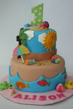 Beach first birthday cake