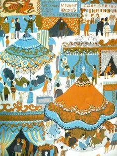 Roger Duvoisin (1900 – 1980) - Swiss-born American writer and illustrator. illustration, drawing, art, design, modern, mid-century, retro, vintage, children, picture, book, carnival