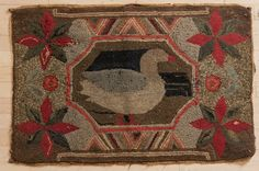 American hooked rug with duck, late 19th c., 39 : Lot 203