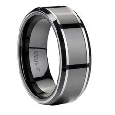 Tungsten+Ceramic Black plating mens tungsten carbide ring