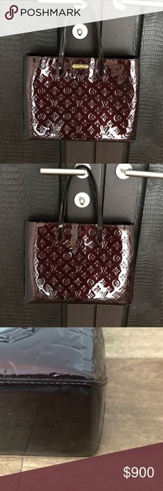 Louis Vuitton Wilshire Bag 100% authentic Louis Vuitton Wilshire tote. Vernis leather amarante color.  Excellent condition one small scratch on corner ( see photo) this is the medium size not made any longer.  NO TRADES or LOWBALL offers Louis Vuitton Bags Totes