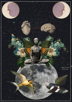 Digital Collage, Collage Art, Emo Scene Hair, Star Illustration, Art Deco Print, Magical Images, Tarot, Graphic Design Art, Watercolor Flowers
