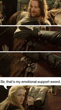 I need an emotional support sword. Aragorn, Legolas, Narnia, Lotr, Movie Memes, Funny Memes, Bagginshield, O Hobbit, Into The West