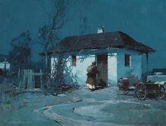 Stepan Kolesnikoff (1879 — 1955, Russia - Serbia) «Moonlight», II quarter XX c. gouache on paper on cardboard. 49,5 x 64 cm.