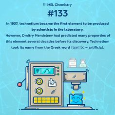 In technetium became the first element to be produced by scientists in the laboratory. Element Chemistry, Study Chemistry, Chemistry Notes, Chemistry Lessons, Chemistry Experiments, Subscriptions For Kids, After School Club, School Clubs, Science Facts