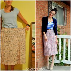 Pleated skirt that was too big transformed into a skirt that fit by adding elastic with a zig zag stitch