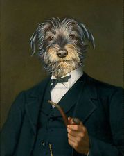 THIERRY PONCELET Cairn Terrier With A Pipe DOG in suit