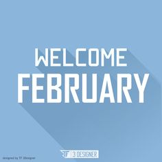 welcome february flat design long shadow
