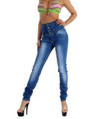 Damen Röhren Jeans Hose Hochschnitt 36 S - 44 XXL