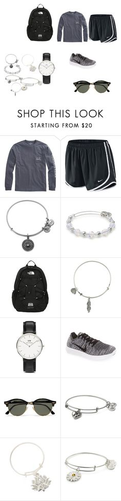 """lazy school day"" by adrianagonzalez-t on Polyvore featuring Vineyard Vines, NIKE, Alex and Ani, The North Face, Daniel Wellington and Ray-Ban"