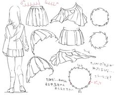 How to draw uniform/sailor/pleaded skirts. -- Drawing tools, inspiration…