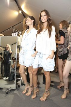 Isabel Marant spring summer 2012 backstage. My black irregular cutoff denim shorts are at the back!