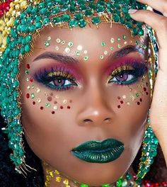 carnival make up Brownie 2 minute brownie Makeup Art, Beauty Makeup, Eye Makeup, Hair Makeup, Makeup Ideas, Hair Beauty, Carnival Inspiration, Makeup Inspiration, Carnival Makeup Caribbean
