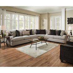 Cantia Sofa in Gray Fabric - Acme Furniture easy on the beautiful Cantia sofa collection. This relaxing two-tone gray fabric upholstered sofa features smooth fabric wrapped tightly around the wood framework. Accented with sloped arms, esp Living Room Sectional, Corner Sectional, Living Room Furniture, Home Furniture, Sectional Sofas, Furniture Ideas, Furniture Online, Accent Furniture, Discount Furniture