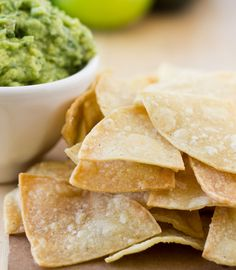 Baked Lime Tortilla Chips-- baked up crunchy and delicious in 10 minutes! Dip into salsa or guacamole!