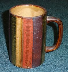 OTAGIRI ORIGINAL HAND CRAFTED STONEWARE COFFEE MUG CUP MULTI COLORED - RARE!