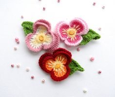 Crochet Applique - Multicolored Flower - Pansy Viola Flower - Made to Order