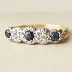 1960's Vintage Sapphire & Diamond Eternity Band, Sapphire, Diamond 18k Gold Ring, Approximate Size US 6.5