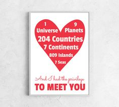 Valentines day print love heart print for her valentines gift for him love poster boyfriend girlfriend red white many color choices