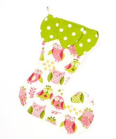 Take a look at this Green & White Hoot Owls Elf Stocking by Caught Ya Lookin' on #zulily today!