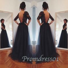 Glamorous black open back tulle floor-length prom dress, maxi dress, occasion dress #promdress