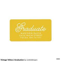 Vintage Yellow | Graduation Address Label