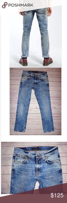 Men's NUDIE LEAN DEAN Skinny Jeans NWOT! 32 x 27.5 Men's NUDIE Mid Rise LEAN DEAN Skinny Jeans in Dark Light Wash! NWOT! Hemmed 32 x 27.5 hemmed 99% cotton & 1% spandex 16 across & 9.5 rise Nudie Jeans Jeans Skinny