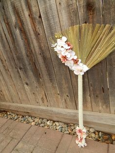 beaded handle wedding broom