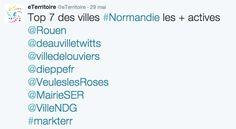 eTerritoire annonce que #Louviers dans le top 7 des villes de #Normandie les plus actives sur #Twitter ce mois de mai ;-)
