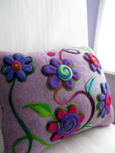 Lavender felted cushion bright flowers recycled by hamsterville Felt Embroidery, Felt Applique, Embroidery Designs, Felt Cushion, Felt Pillow, Wet Felting, Needle Felting, Felt Flowers, Bright Flowers