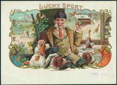 vintage cigar labels   Lucky Sport Rare Vintage Inner Cigar Label Hunter Dogs   eBay
