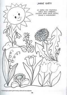 Jarní květy Spring Activities, Kindergarten Activities, Basic Drawing, Free Coloring Pages, Learn To Paint, Spring Flowers, Creative Inspiration, All Art, Textile Art