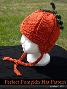 Perfect Pumpkin Hat with Earflaps Knitting Pattern