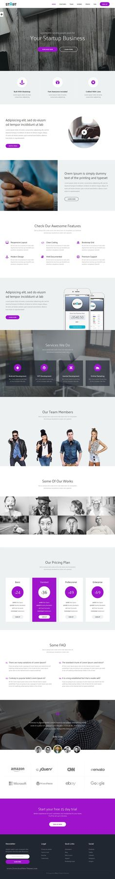 Start complete landing page bootstrap template for corporate or agencies. It comes in one page and multi page layouts.