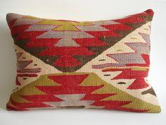 Sukan / Handwoven Vintage Turkish Kilim Pillow Cover Pillow