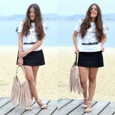 Martina Go, Black Skirt Zara Ss15, H&M Combinar Bolso Flecos Rosa, Zara White Sandals