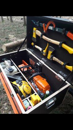 The post appeared first on Werkstatt ideen. Garage Workshop Organization, Diy Garage Storage, Garden Tool Storage, Farm Tools, Wood Shed, Garage Tools, Wood Cutting, Cool Tools, Chainsaw