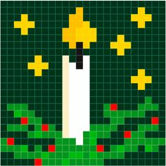 Kaars – kerst | Pixel Party Cross Stitch Designs, Cross Stitch Patterns, Quilt Patterns, Christmas Perler Beads, Christmas Cross, Pixel Crochet, Pixel Pattern, Bobble Stitch, Nouvel An