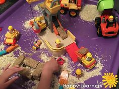 Terrific Transport Building Site Tuff Tray Small World Scene for Toddlers-EYFS Children