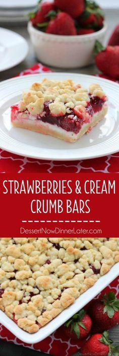 Estas fresas y barras de miga crema son dulce y cremosa con una corteza crujiente y miga topping.