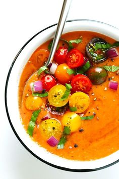 This 10-Minute Gazpacho Recipe is easy to customize with whatever veggies you have on hand, it's easy to make ahead of time, and it's absolutely delicious!