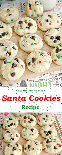 christmas snacks Get Ready to Make Santa Mix Chocolate Chip Cookies - Very Best of Christmas Cookie Desserts, Holiday Desserts, Chocolate Desserts, Holiday Recipes, Chocolate Chips, White Chocolate, Cake Chocolate, Kid Desserts, Cookie Favors