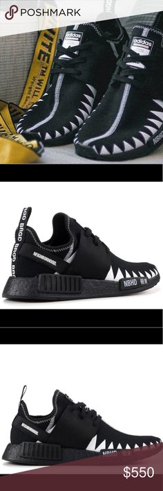 """ADIDAS NMD R1 PK """"NEIGHBORHOOD"""" DS 11.5 women's size adidas Primeknit upper wraps the foot in adaptive support and ultralight comfort  NEIGHBORHOOD branding on nubuck leather eyestay and heel strap; TPU zigzag sheet on upper inspired by Shinsengumi's team symbol flag Synthetic suede sockliner cover and heel lining; """"NBHD"""" + """"極東""""(""""Far East"""" in English) print on forefoot stabilizer adidas x NEIGHBORHOOD branding on tongue label and sockliner cover; """"NBHD"""" print on left heel pull; """"BRGD"""" print…"""
