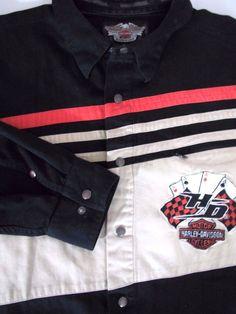 HARLEY DAVIDSON 2XL Men's Embroidered Shirt Khaki Black 4 Aces Heavy Cotton Snap