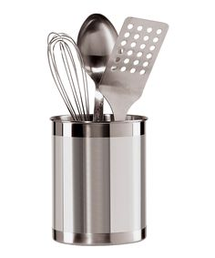 OGGI Stainless Steel Utensil Caddy | zulily . $11.99 $16.00  Product Description:  Organize the kitchen with this sleek stainless steel caddy. It adds a modern note to any countertop while ensuring essential utensils are always at hand.      Utensils not included     5'' W x 6.5'' H x 5'' D     Stainless steel     Hand wash     Imported