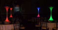 Modern Spandex LED Centerpieces by www.idealpartydecorators.com