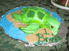 Homemade Baby Turtle Cake: This Baby Turtle Cake was made from one box of cake mix!  It was a small turtle cake for a 1 year old, so we had another sheet cake at the party to be
