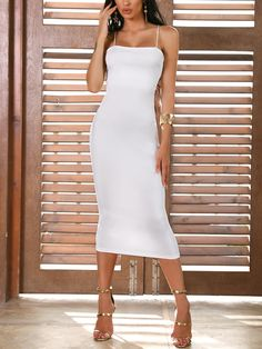 Solid Spaghetti Strap Bodycon Dress dresses and accessories all over the world at competitive prices, and with a high level of customer care. Lovely Dresses, Beautiful Gowns, Womens Fashion Online, Latest Fashion For Women, Estilo Fashion, Ideias Fashion, Latest Fashion Clothes, Fashion Dresses, S Models